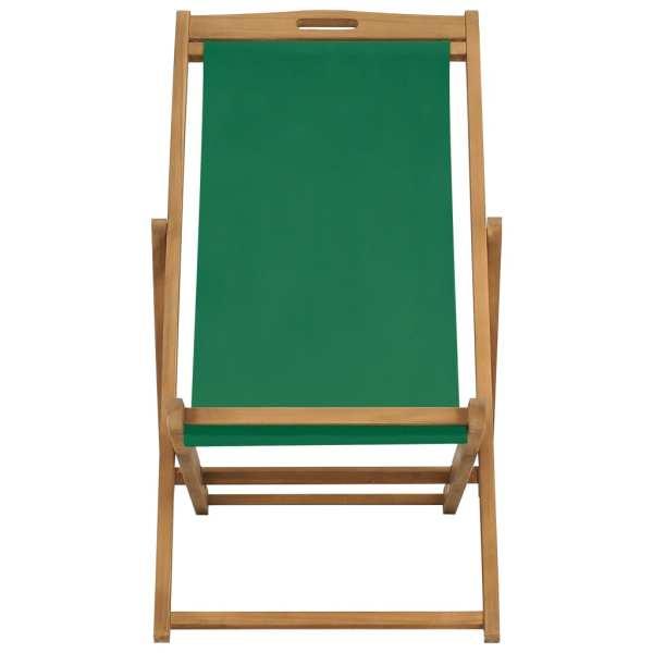 Scaun de plajă pliabil, verde, lemn masiv de tec