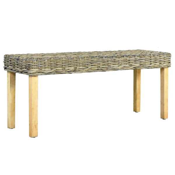 vidaXL Bancă, natural, 110 cm, ratan kubu & lemn masiv de mango