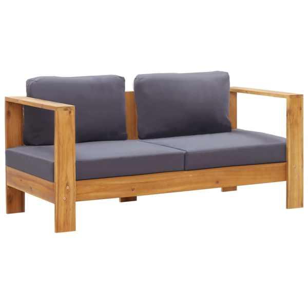 vidaXL Bancă de grădină cu perne, gri, 140 cm, lemn masiv de acacia