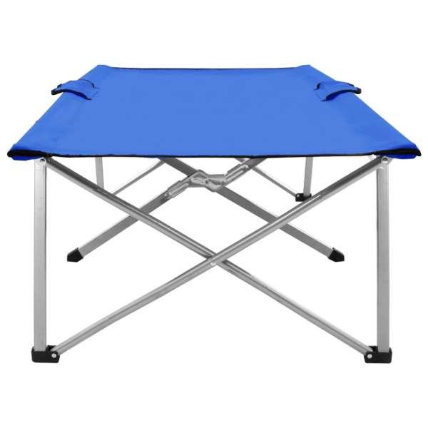vidaXL Pat de camping, 206 x 75 x 45 cm, albastru, XXL