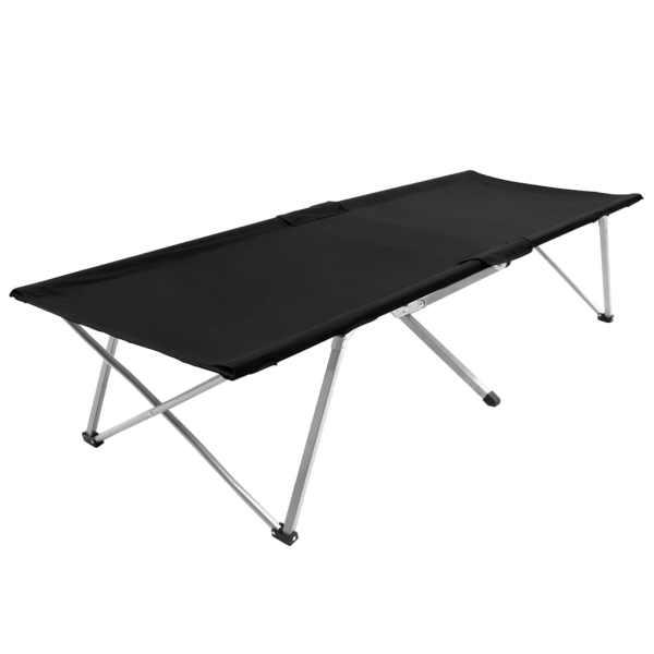 vidaXL Pat de camping, 206 x 75 x 45 cm, negru
