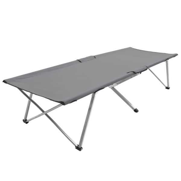vidaXL Pat de camping, gri, 206 x 75 x 45 cm