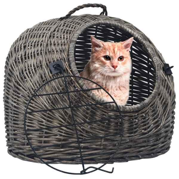 vidaXL Coș de transport pisici, gri, 50x42x40 cm, răchită naturală