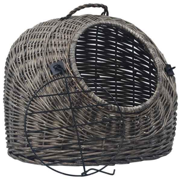 Coș transport pentru pisici, gri, 60x45x45 cm, răchită naturală