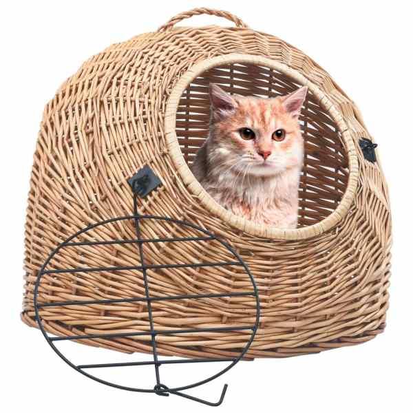 vidaXL Coș transport pentru pisici, 60x45x45 cm, răchită naturală