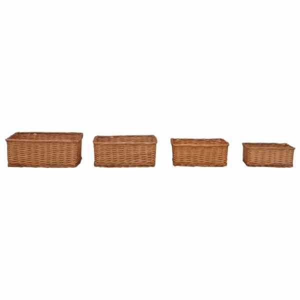 Set de coșuri stivuibile, 4 piese, maro, răchită