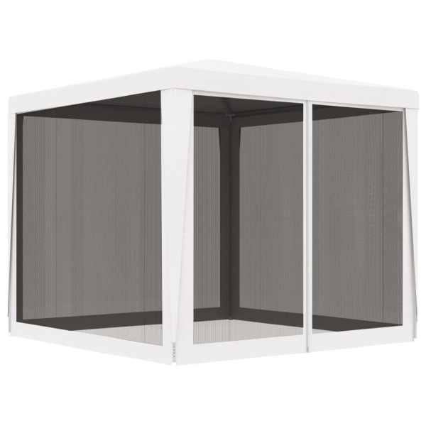vidaXL Cort de petrecere cu 4 pereți din plasă, alb, 2,5 x 2,5 m
