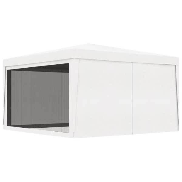 vidaXL Cort de petrecere cu 4 pereți din plasă, alb, 4 x 4 m