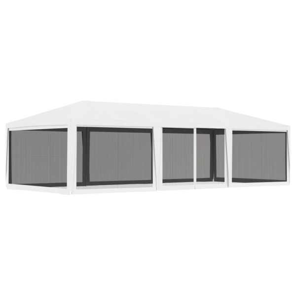 vidaXL Cort de petrecere cu 4 pereți din plasă, alb, 4 x 9 m