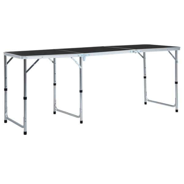vidaXL Masă de camping pliabilă, gri, 180 x 60 cm, aluminiu