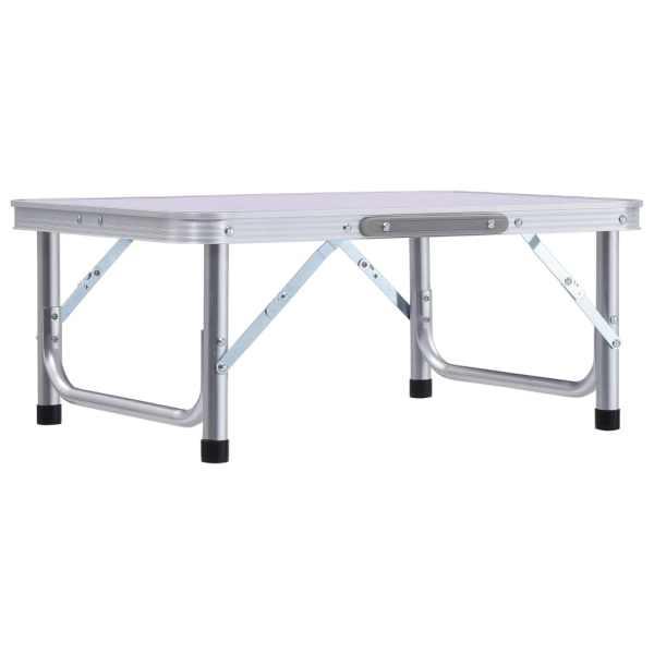 Masă de camping pliabilă, alb, 60 x 45 cm, aluminiu