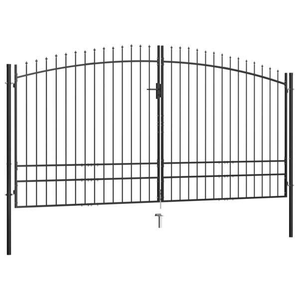 Poartă de gard cu două uși, cu vârfuri de suliță, 400 x 248 cm
