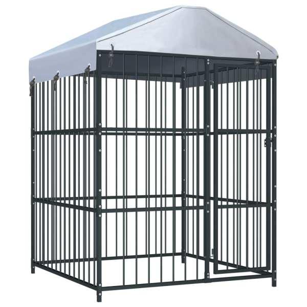 vidaXL Padoc pentru câini de exterior, cu acoperiș, 150 x 150 x 210 cm