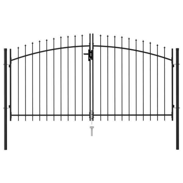 vidaXL Poartă de gard cu ușă dublă & vârf ascuțit negru 3 x 1,5 m oțel