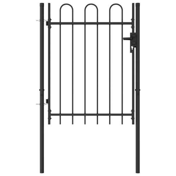 vidaXL Poartă de gard cu o ușă, vârf arcuit, negru, 1 x 1,2 m, oțel