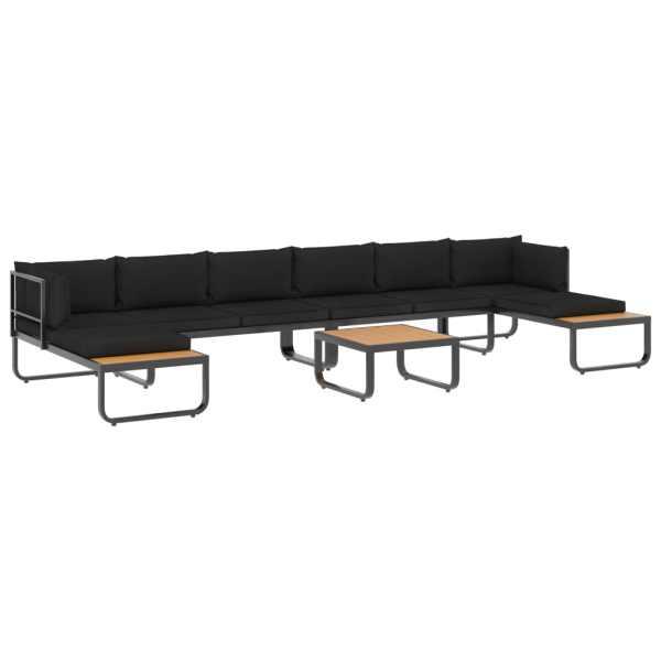 Set canapea de grădină colțar cu perne, 5 piese, aluminiu, WPC