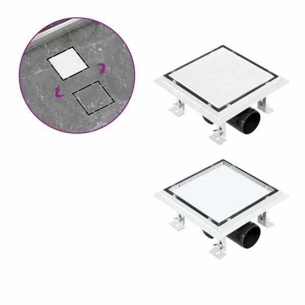 vidaXL Rigolă de duș capac plat gresie 2-în-1 15×15 cm oțel inoxidabil
