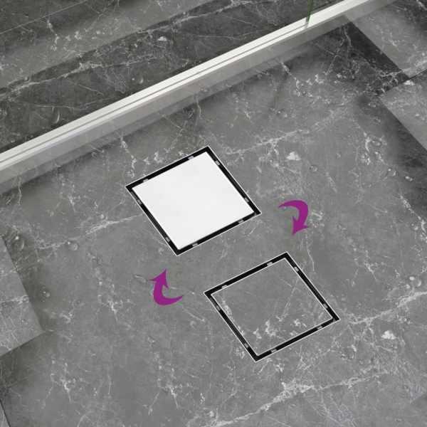 Rigolă de duș capac plat gresie 2-în-1 15×15 cm oțel inoxidabil