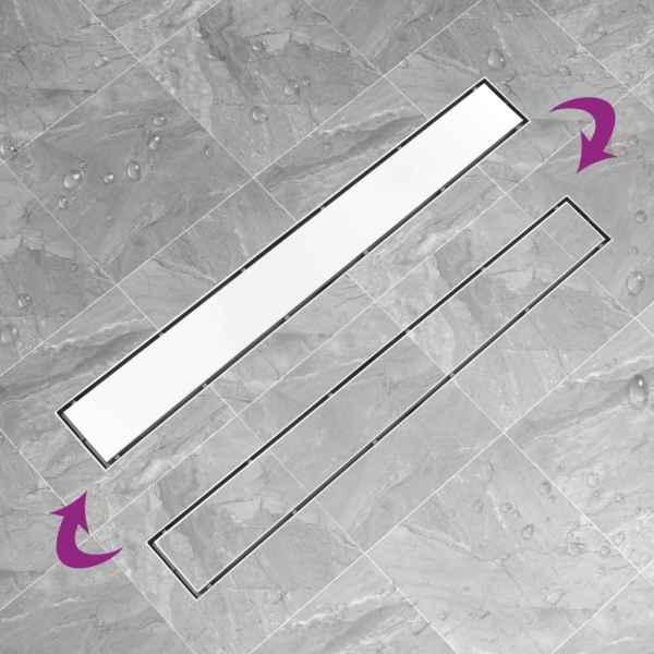 Rigolă de duș cu capac 2-în-1, 93 x 14 cm, oțel inoxidabil
