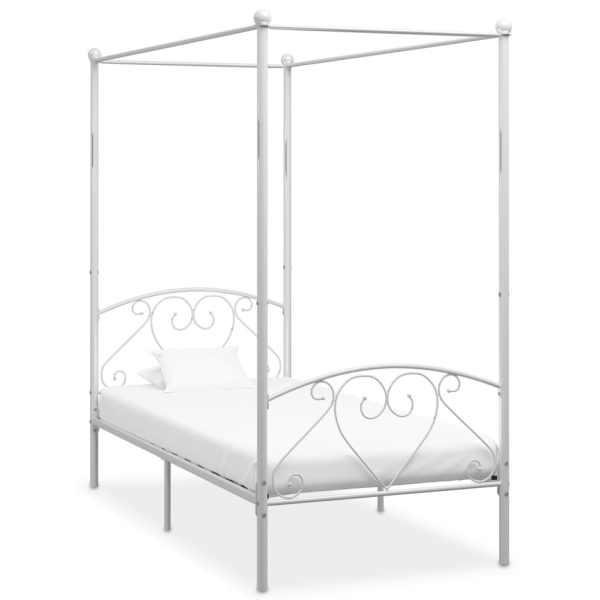 vidaXL Cadru de pat cu baldachin, alb, 120 x 200 cm, metal