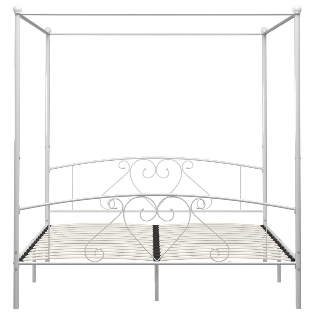 Cadru de pat cu baldachin, alb, 200 x 200 cm, metal