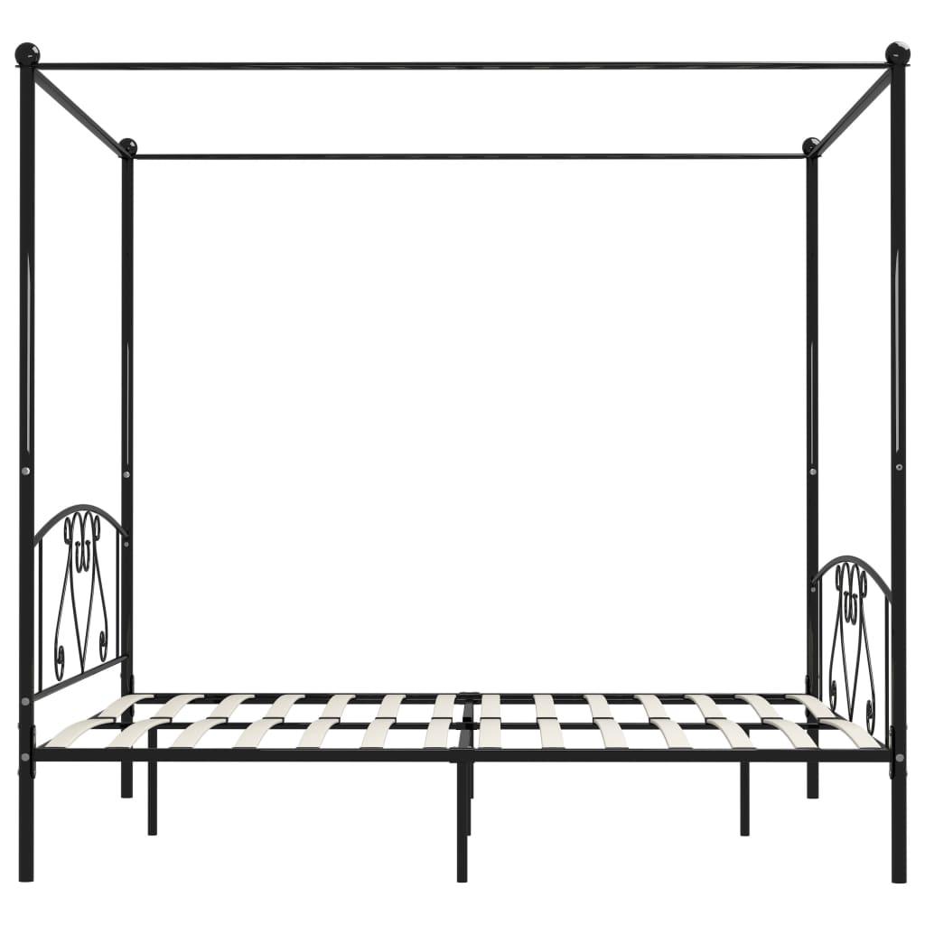Cadru de pat cu baldachin, negru, 200 x 200 cm, metal