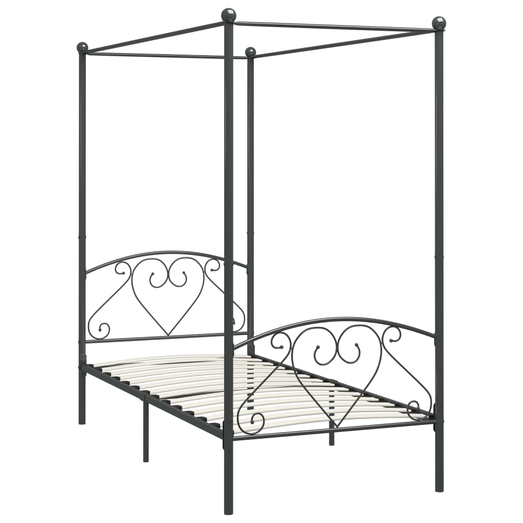 Cadru de pat cu baldachin, gri, 100 x 200 cm, metal