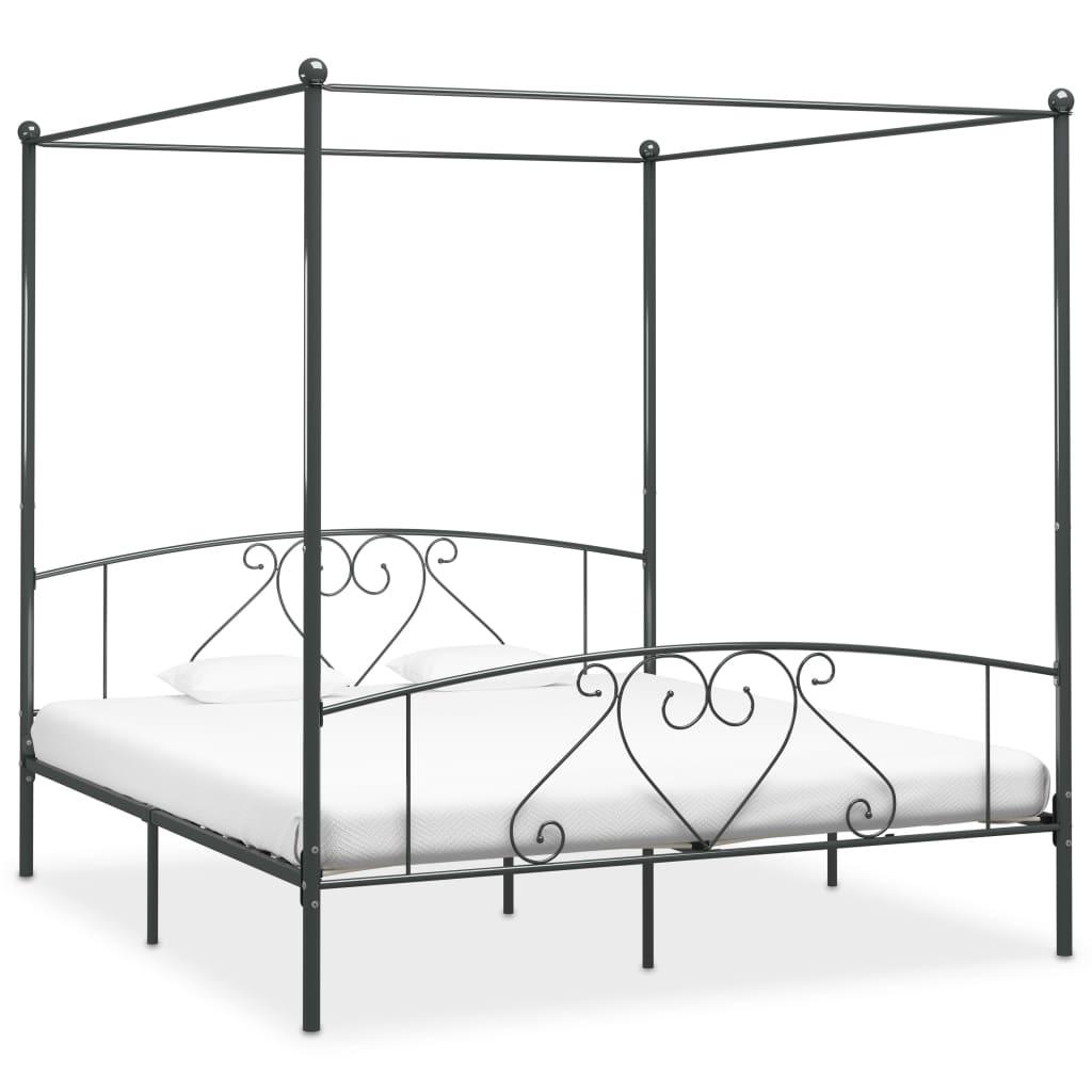 vidaXL Cadru de pat cu baldachin, gri, 200 x 200 cm, metal