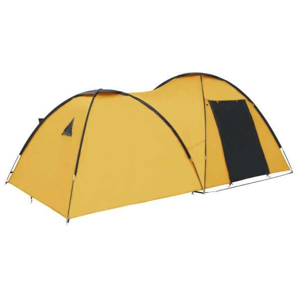 vidaXL Cort camping tip iglu, 4 persoane, galben, 450x240x190 cm