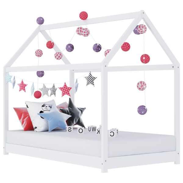 vidaXL Cadru pat de copii, alb, 80×160 cm, lemn masiv de pin