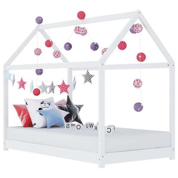 vidaXL Cadru pat de copii, alb, 90 x 200 cm, lemn masiv de pin