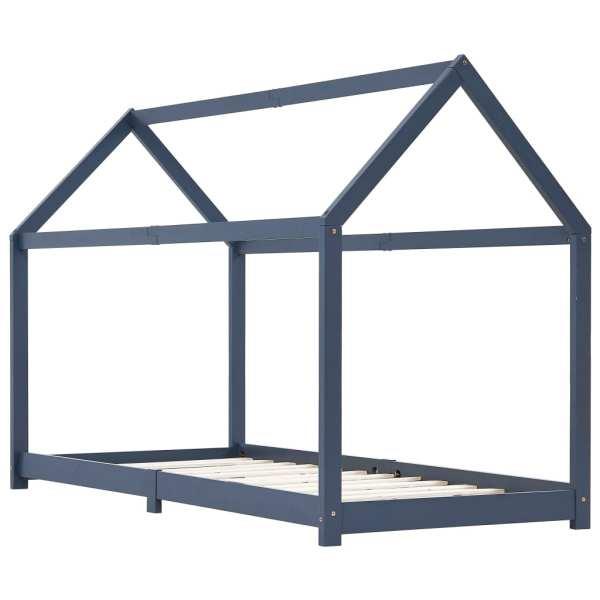 vidaXL Cadru de pat pentru copii, gri, 90 x 200 cm, lemn masiv de pin