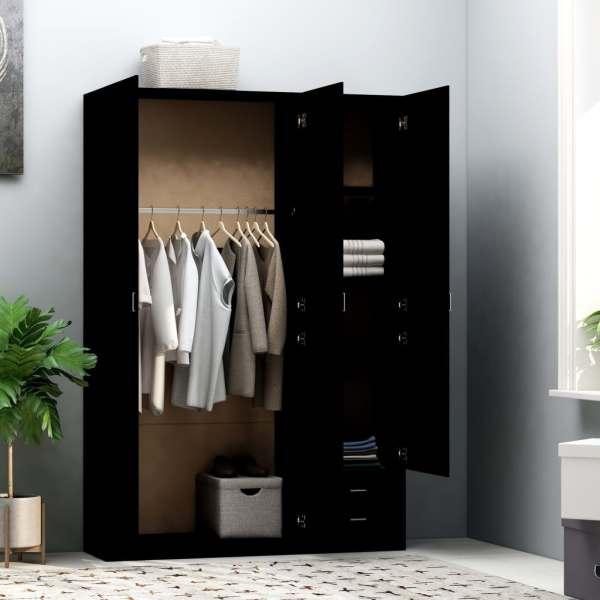 Șifonier cu 3 uși, negru, 120 x 50 x 180 cm, PAL