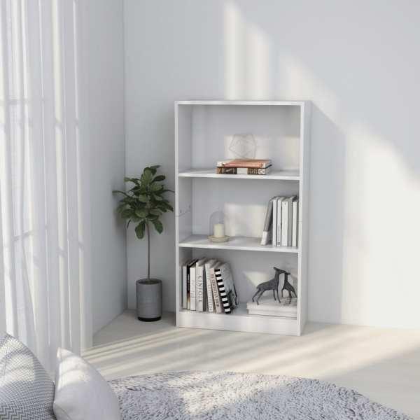 vidaXL Bibliotecă cu 3 rafturi, alb, 60 x 24 x 108 cm, PAL