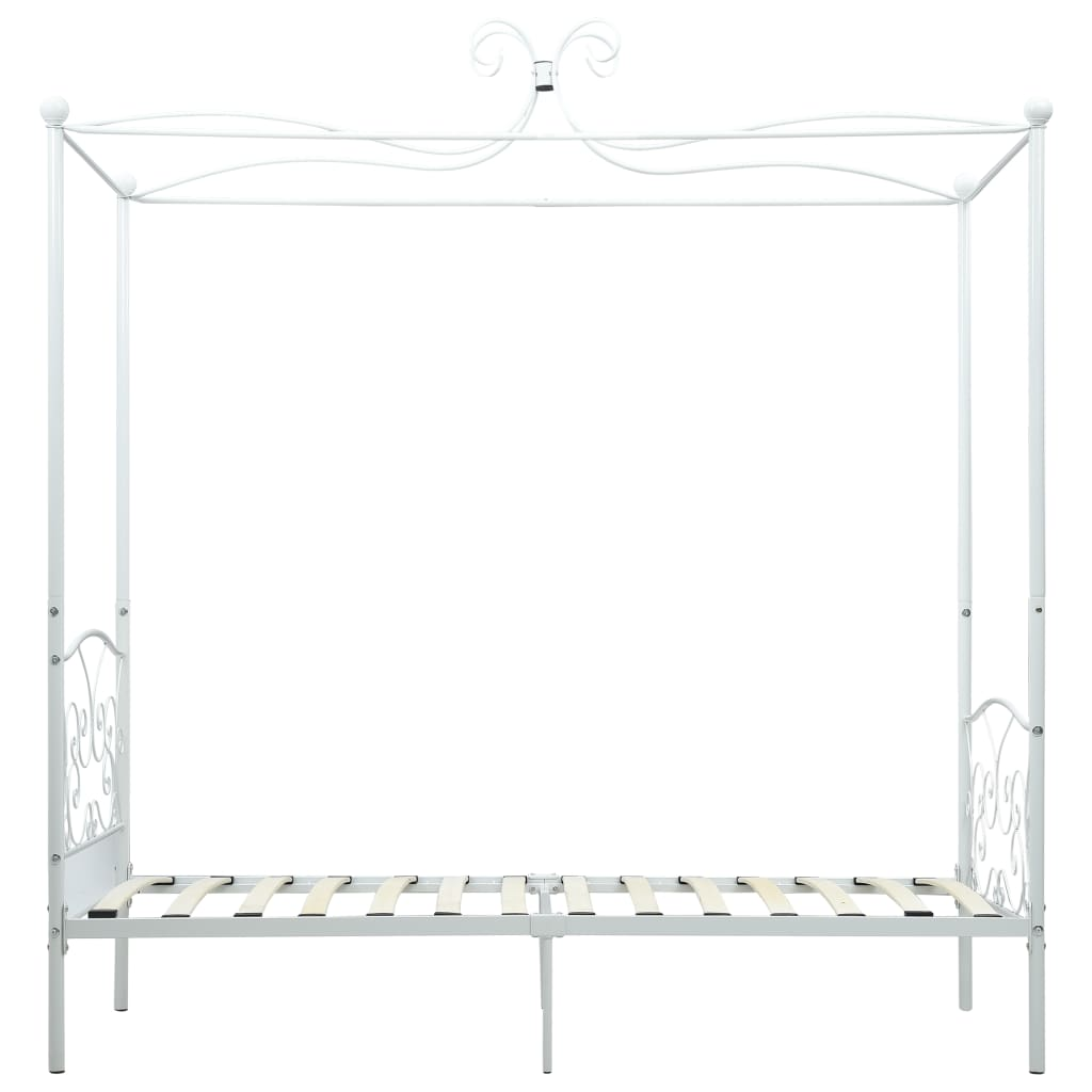 Cadru de pat cu baldachin, alb, 90 x 200 cm, metal