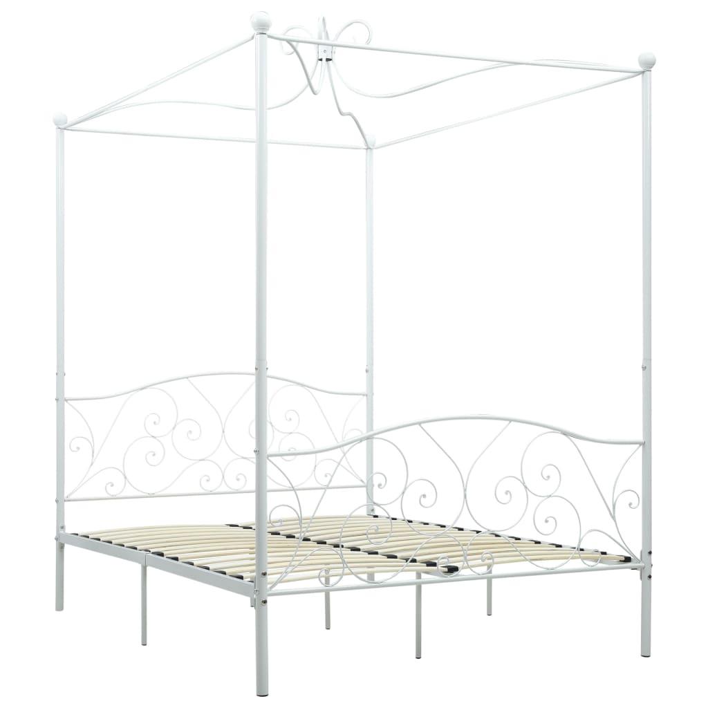 Cadru de pat cu baldachin, alb, 120 x 200 cm, metal