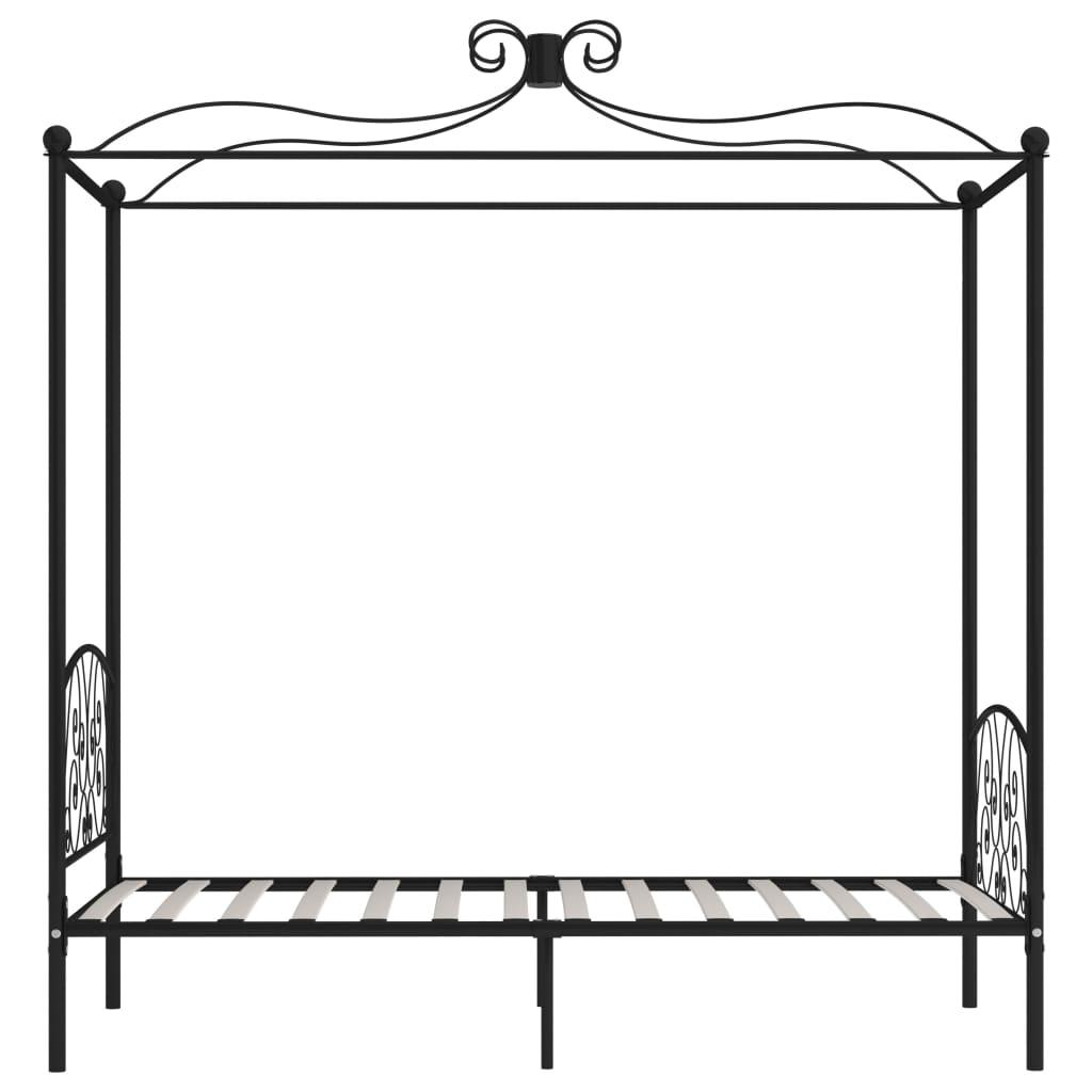 Cadru de pat cu baldachin, negru, 90 x 200 cm, metal