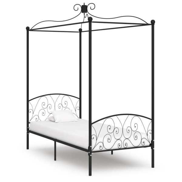vidaXL Cadru de pat cu baldachin, negru, 100 x 200 cm, metal