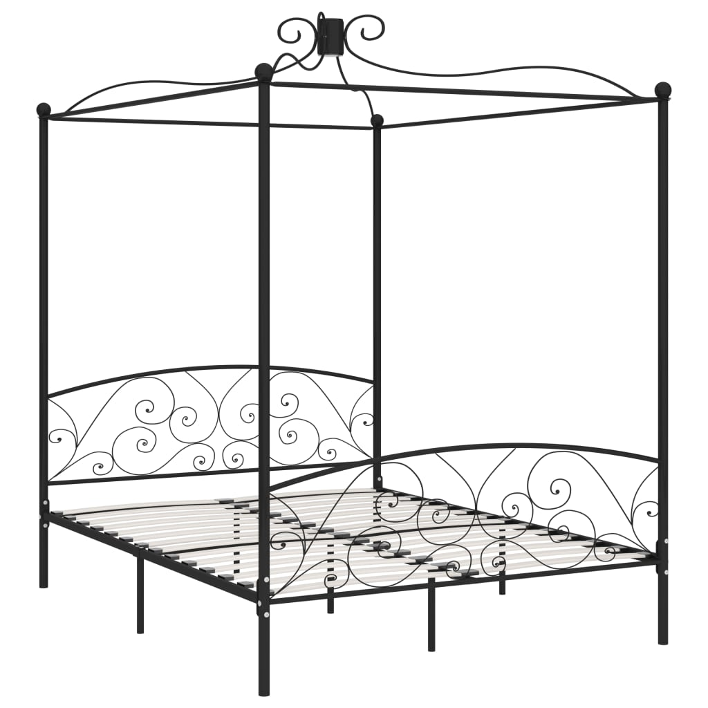 Cadru de pat cu baldachin, negru, 180 x 200 cm, metal
