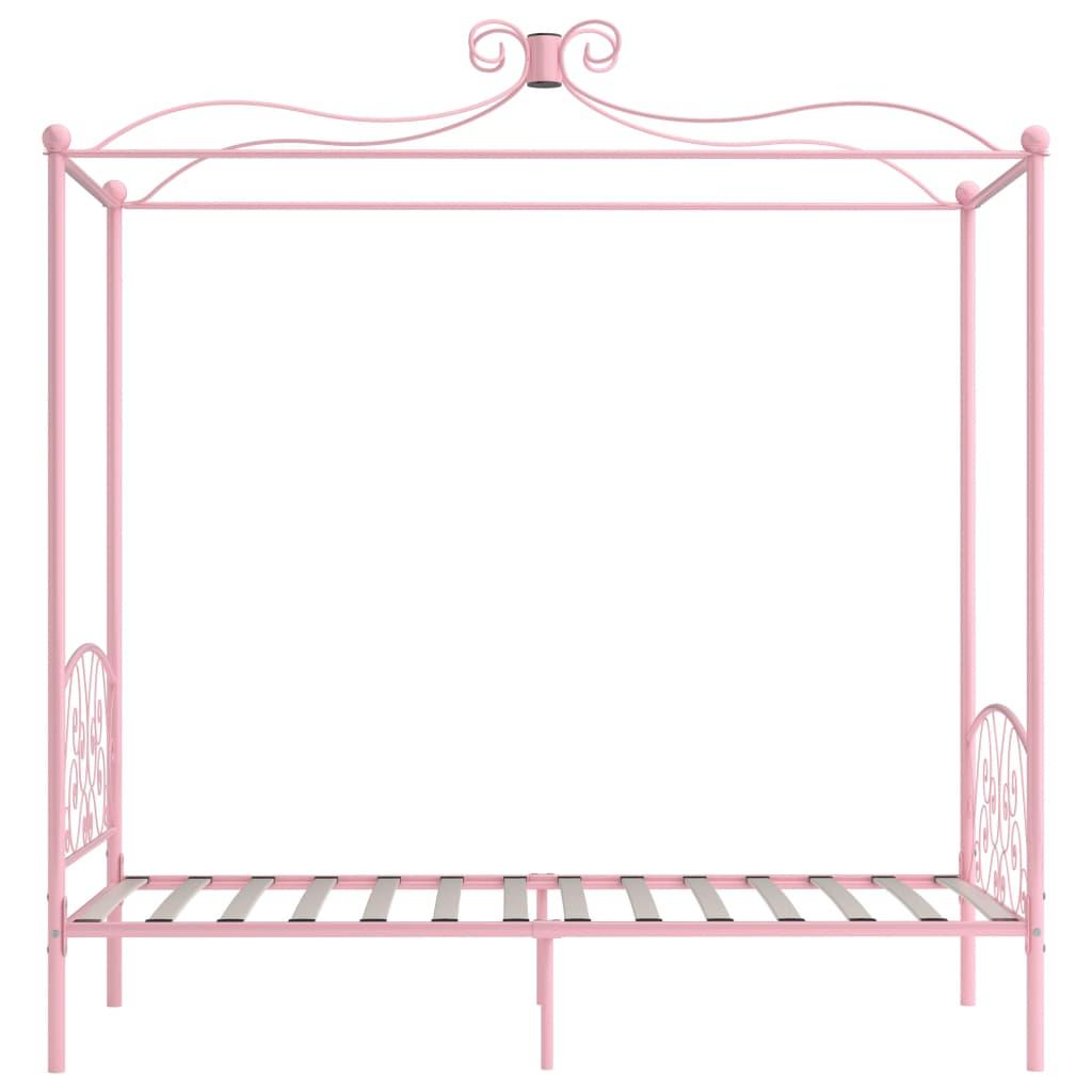 Cadru de pat cu baldachin, roz, 100 x 200 cm, metal