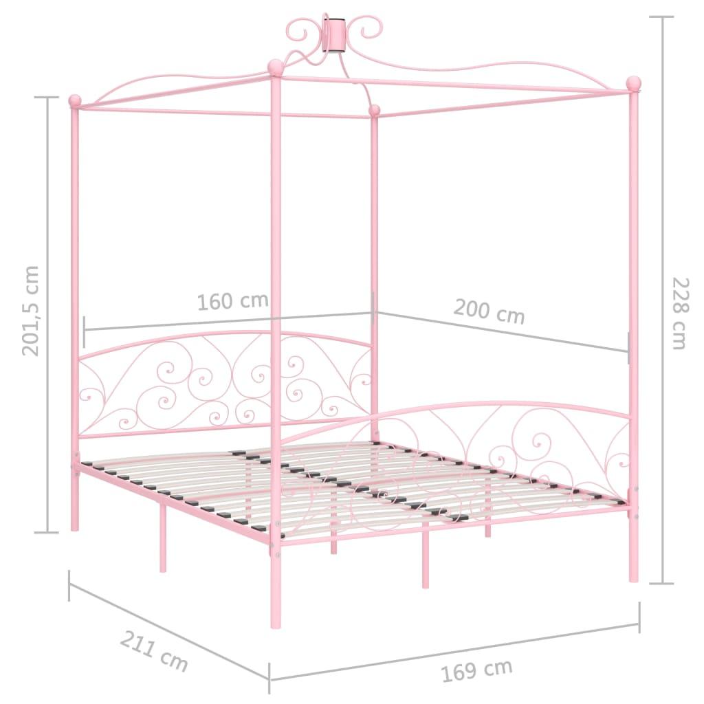 Cadru de pat cu baldachin, roz, 160 x 200 cm, metal