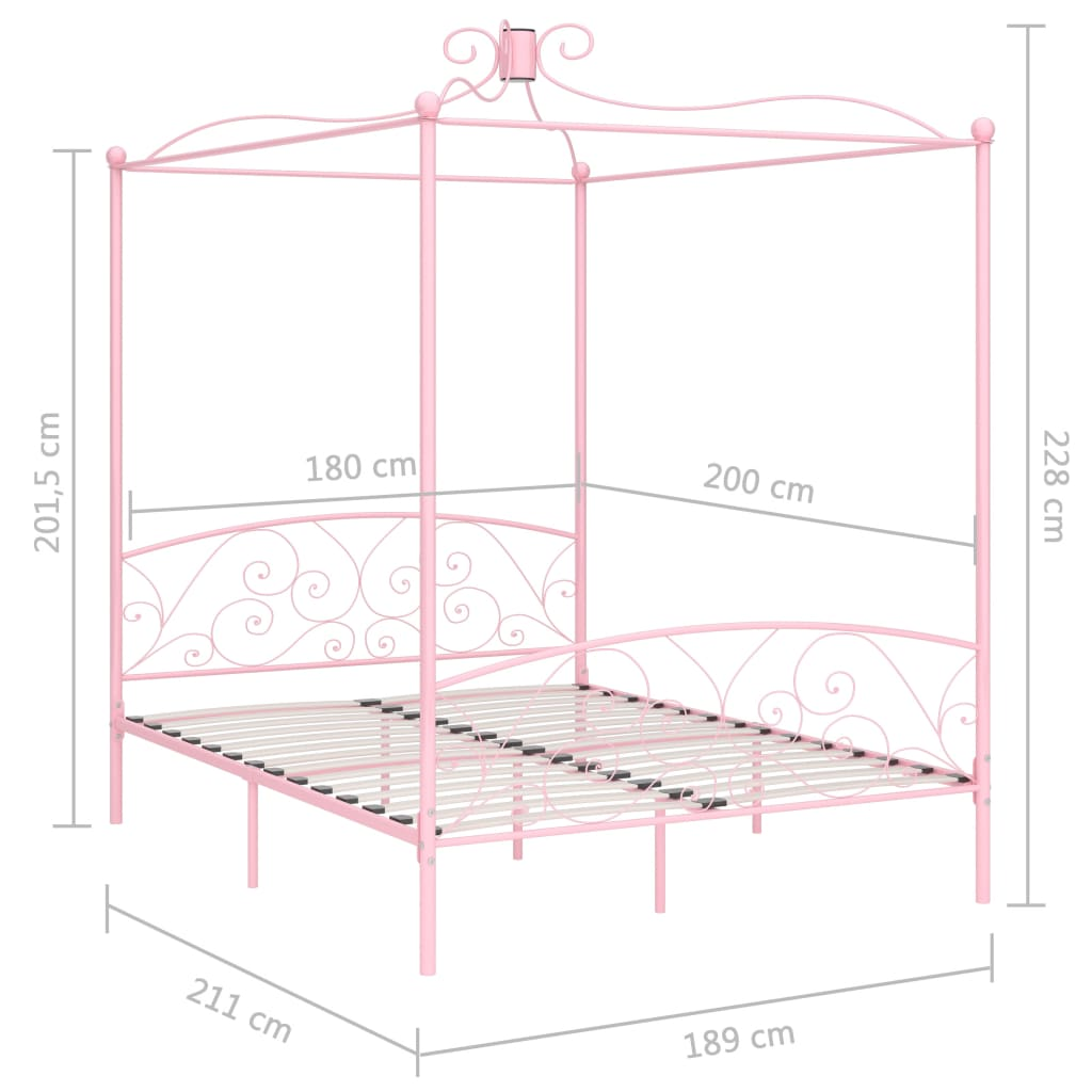 Cadru de pat cu baldachin, roz, 180 x 200 cm, metal