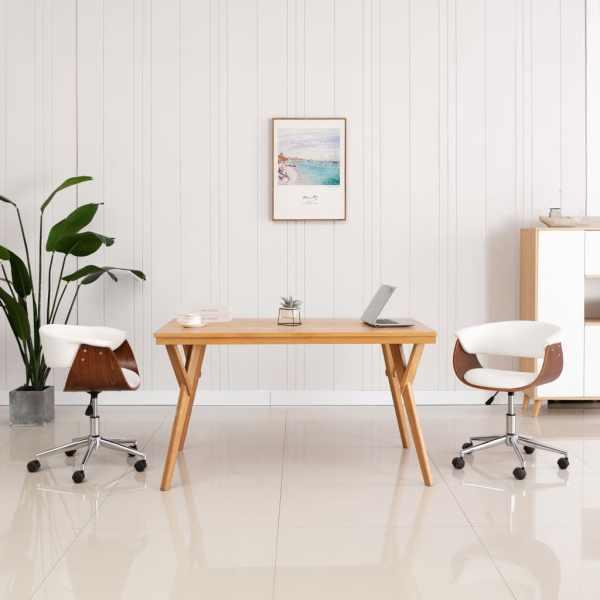 vidaXL Scaun de bucătărie pivotant, alb, lemn curbat & piele ecologică