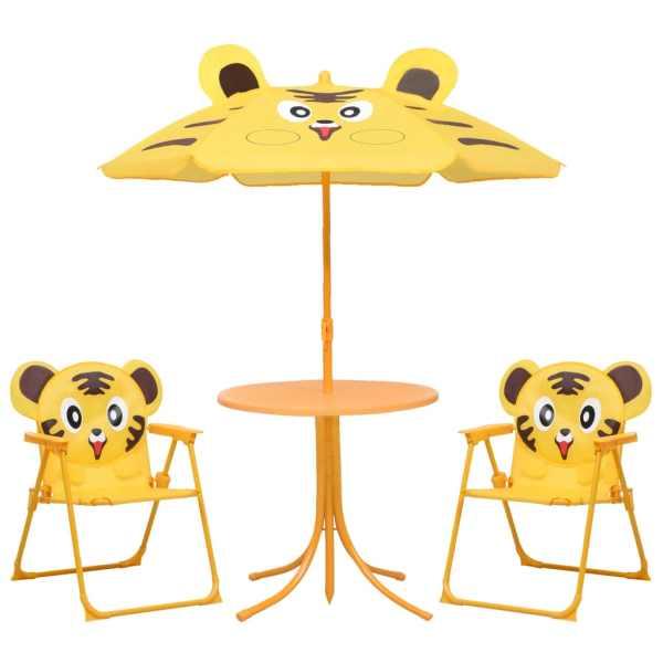 vidaXL Set bistro de grădină pentru copii, cu umbrelă, 3 piese, galben