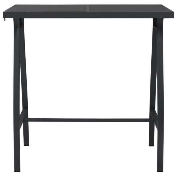 Masă de bar grădină, negru, 110x60x110 cm, sticlă securizată