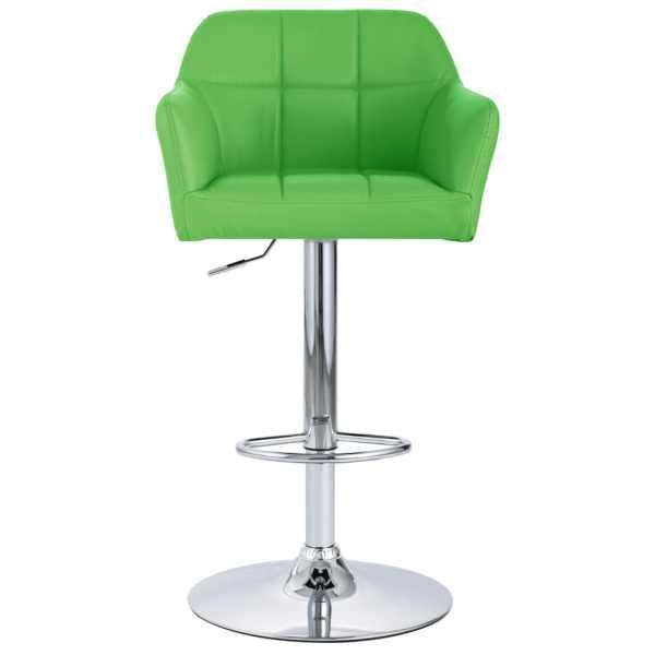 Scaun de bar cu brațe, verde, piele ecologică