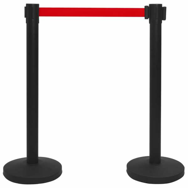 vidaXL Stâlp cu bandă, barieră pentru aeroport, negru, oțel