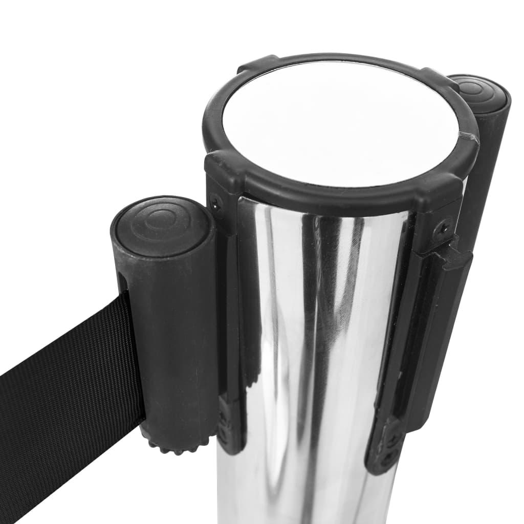 vidaXL Barieră bandă retractabilă, negru, 200 cm