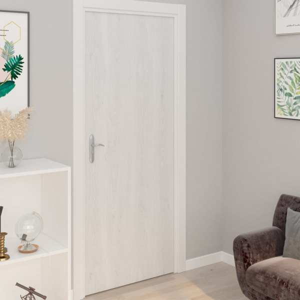 vidaXL Folii de ușă autoadezive, 2 buc., lemn alb, 210 x 90 cm, PVC