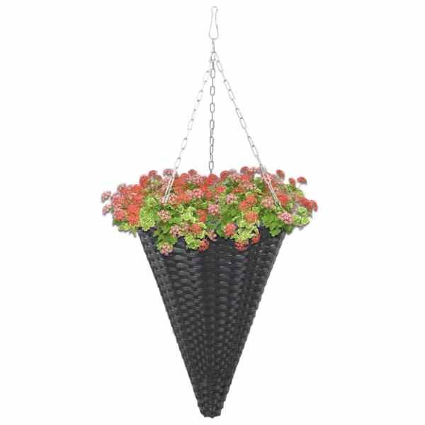 Coșuri de flori suspendate, 2 buc., negru, poliratan